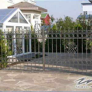 Ворота распашные кованые ХК-ВР-19